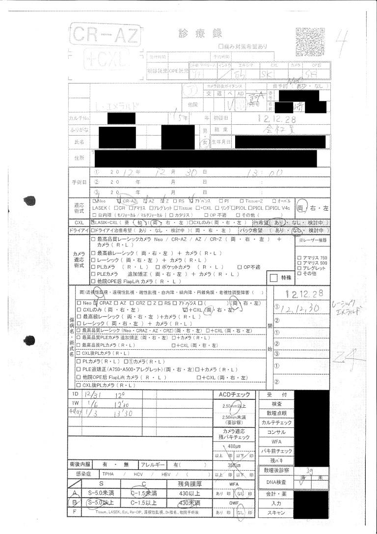 レーシック診療録